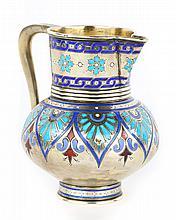 Russian champleve enamel silver-gilt vodka jug