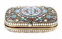 Russian cloisonne enamel silver-gilt snuff box
