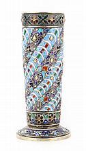 Russian cloisonne enamel silver-gilt vase