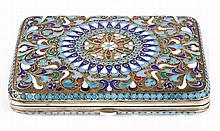 Russian cloisonne enamel silver cigarette case