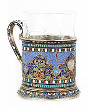Russian cloisonne enamel silver-gilt cup holder