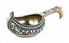 Russian cloisonne enamel silver kovsh