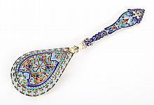 Russian cloisonne enamel silver-gilt caviar spoon