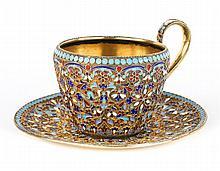 Russian cloisonne enamel silver-gilt cup & saucer