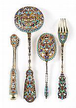 Russian cloisonne enamel silver gilt 4-piece set