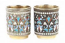 Pair Russian cloisonne enamel silver-gilt cordials