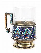 Russian cloisonne enamel silver cup holder