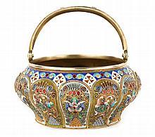 Russian cloisonne enamel silver-gilt sugar basket