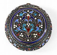 Russian cloisonne enamel silver-gilt pill box
