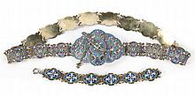 Russian cloisonne enamel silver belt & bracelet