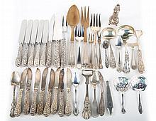 Assorted sterling silver flatware & a salt shaker
