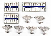 Asian silver card holders & hors d'oeuvres picks