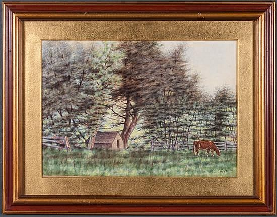 Clara Maxfield Arnold, American, 1879-1959, Pasture with Cow and Shelter, watercolor on paper, 13 3/4 x 19 1/2 in., framed