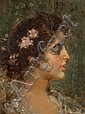 Thomas Couture, French, 1815-1879, Portrait of a Lady, oil on canvas, 18 1/4 x 13 1/2 in., framed