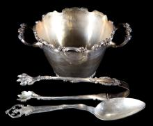Mexican silver ice bucket, tongs & spoon