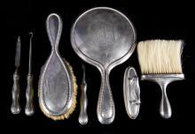 American sterling silver 7-piece vanity set