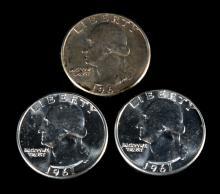 [US] 1961 BU roll Washington Quarters