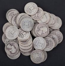 [US] 43 Washington type silver quarters