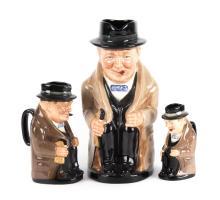 Three Royal Doulton china Churchill toby jugs