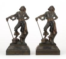 Pair of spelter pirate bookends