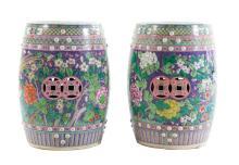 Pair Chinese Export porcelain garden seats