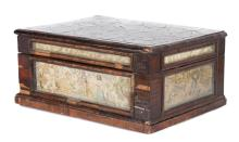 William & Mary oyster and stump work sewing box