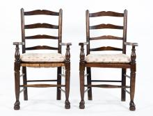 Pair of English oak ladder-back armchairs