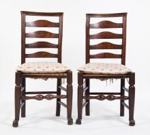 Pair of English oak ladder-back side chairs