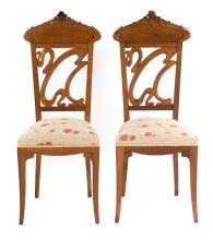 Pair of Art Nouveau oak side chairs