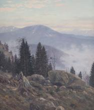 Christian Haug. Mountain Landscape, oil on canvas