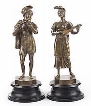 French School, 19th c. Musicians, bronze figures