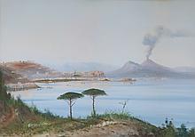 Rosa Corelli. View of Naples Harbor, gouache