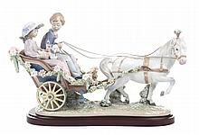 Lladro figural group: A Ride in the Park