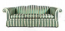 Heirloom upholstered green striped sofa