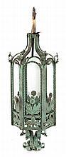 American Art Nouveau wrought iron hanging light