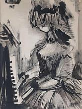 Etienne Ret. Girl Playing Piano, brush and ink