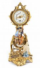 Louis XV style gilt-metal and bronze figural clock