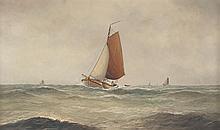 Haaike A. Jaarsma. Sailboats on Rough Seas, oil