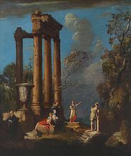 Italian School, 18thc. Figures Among Ruins, oil