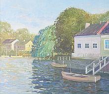 Lau. Impressionistic Lakeside Scene, oil on canvas