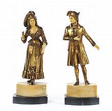 Pair of Contiental gilt-bronze figures