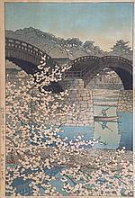 Kawase Hasui. Kintaikyo Bridge, woodblock