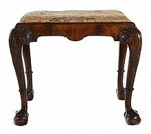 George III style carved walnut stool