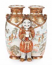 Japanese Satsuma earthenware figural double vase