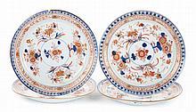 4 Chinese Export Imari porcelain plates