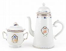 Chinese Export lighthouse coffee pot & sugar bowl