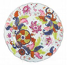 Chinese Export pseudo tobacco leaf porcelain plate