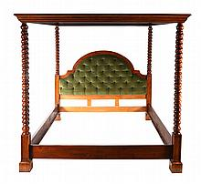 Cabinet made stained maple canopy bed