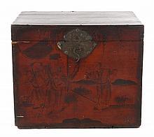 Japanese painted wood tea box