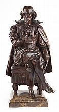 After Pierre Oge. Seated Shakespeare, bronze